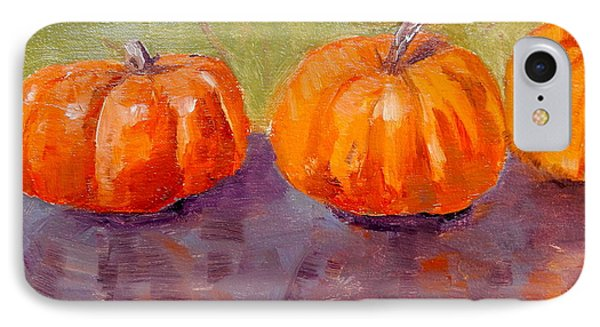 IPhone Case featuring the painting Two And A Half Pumpkins by MaryAnne Ardito