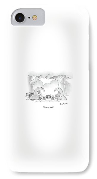 Ant iPhone 7 Case - Two Anteaters On A Picnic Wait For Ants To Come by David Borchart