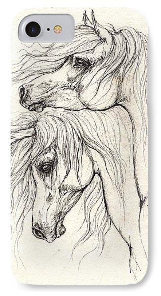 Two Arabian Horses Drawing IPhone Case