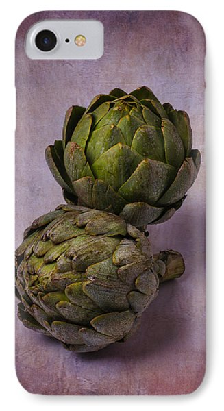 Two Artichokes IPhone Case by Garry Gay