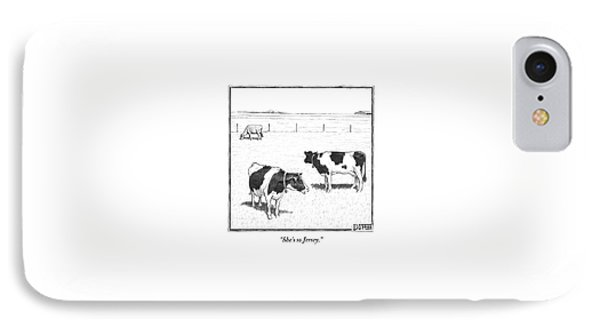 Two Averagely Spotted Cows Looking At A Plain Cow IPhone Case