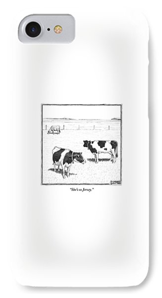 Cow iPhone 7 Case - Two Spotted Cows Looking At A Jersey Cow by Matthew Diffee