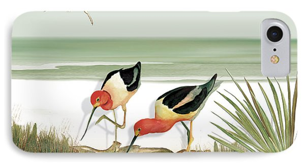 Two Avocets IPhone Case by Anne Beverley-Stamps