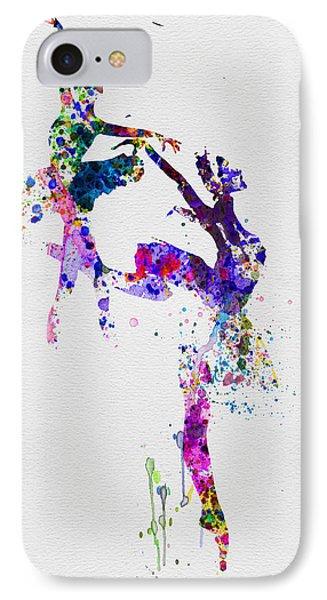 Two Ballerinas Dance Watercolor IPhone Case by Naxart Studio