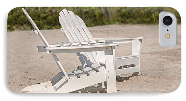 IPhone Case featuring the photograph Two Beach Chairs by Charles Beeler