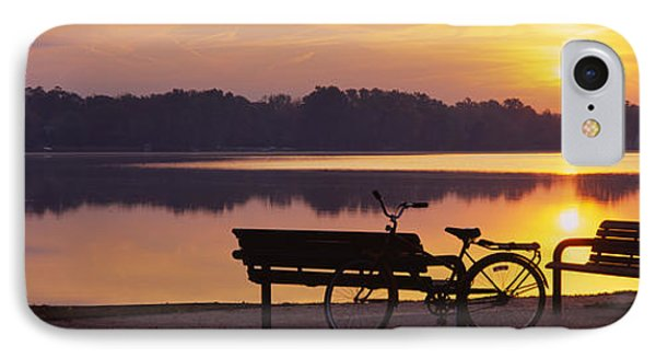 Two Benches With A Bicycle IPhone Case by Panoramic Images