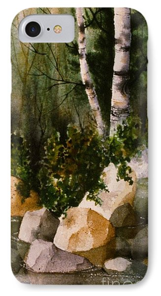 Two Birch By Rocky Stream IPhone Case by Teresa Ascone