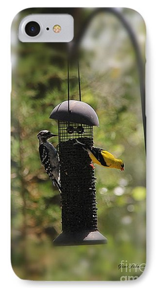 Two Birds On The Feeder IPhone Case by Yumi Johnson