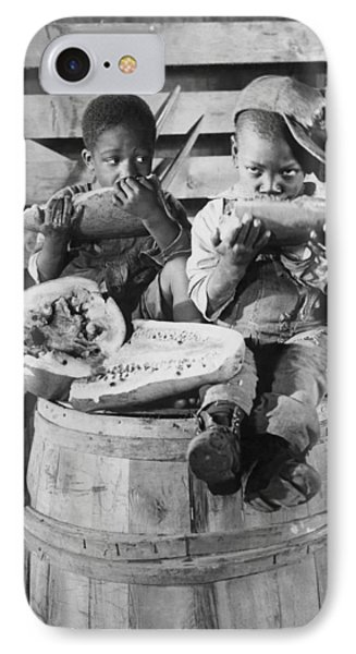 Two Boys Eating Watermelon IPhone Case by Underwood Archives
