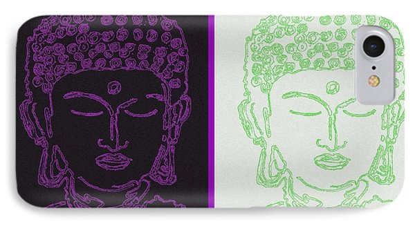 Two Buddhas IPhone Case by Christine Perry