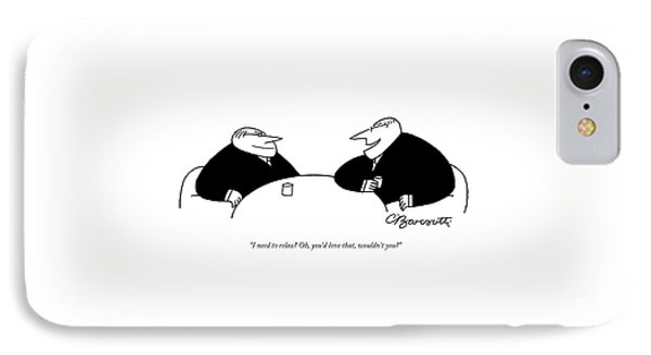 Two Businessmen Sit And Speak At A Table Digibuy IPhone Case by Charles Barsotti