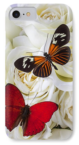 Two Butterflies On White Roses IPhone Case by Garry Gay