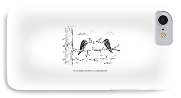 Two Buzzards Sit And Talk On A Branch IPhone Case by David Sipress