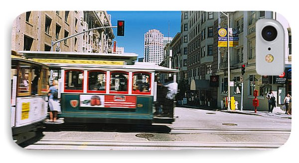 Two Cable Cars On A Road, Downtown, San IPhone Case by Panoramic Images