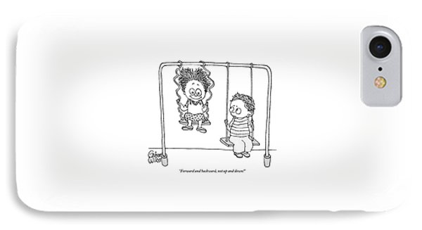 Two Children Sit On Swings IPhone Case by Gahan Wilson