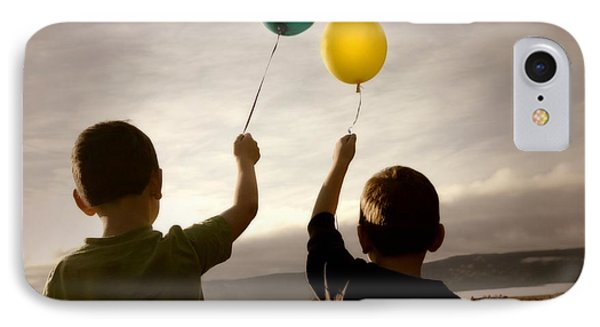 Two Children With Balloons IPhone Case by Con Tanasiuk
