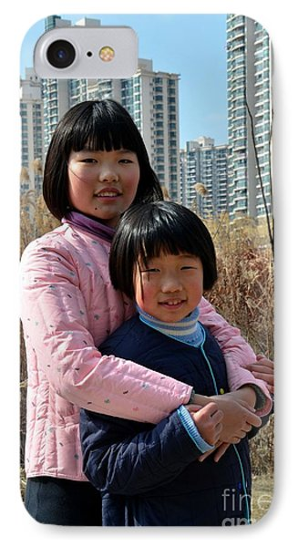 Two Chinese Teen Sisters Hug  And Embrace Shanghai China IPhone Case by Imran Ahmed