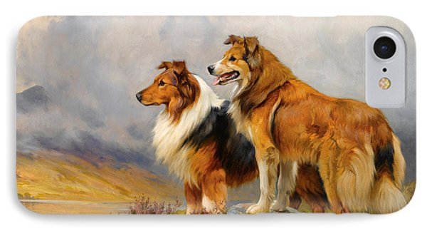 Two Collies Above A Lake IPhone Case by Wright Barker