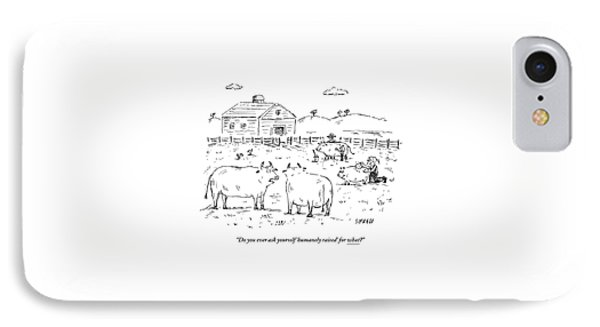 Two Cows On A Farm Talking IPhone Case by David Sipress