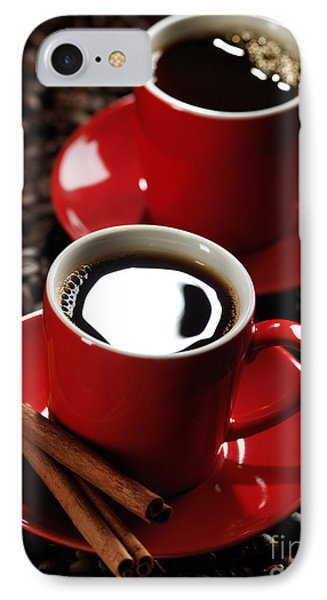 Two Cups Of Coffe On Coffee Beans Phone Case by Oleksiy Maksymenko