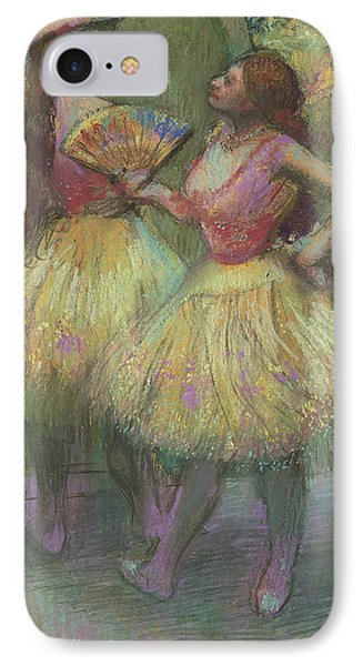 Two Dancers Before Going On Stage IPhone Case by Edgar Degas