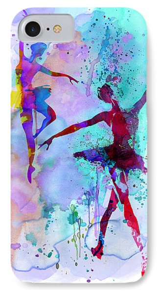 Two Dancing Ballerinas Watercolor 2 IPhone Case by Naxart Studio