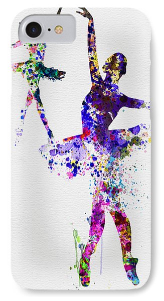 Two Dancing Ballerinas Watercolor 4 IPhone Case by Naxart Studio