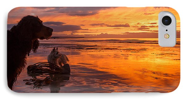 Two Dogs Look Out To Sea During An Amazing Beach Sunset. IPhone Case by Izzy Standbridge