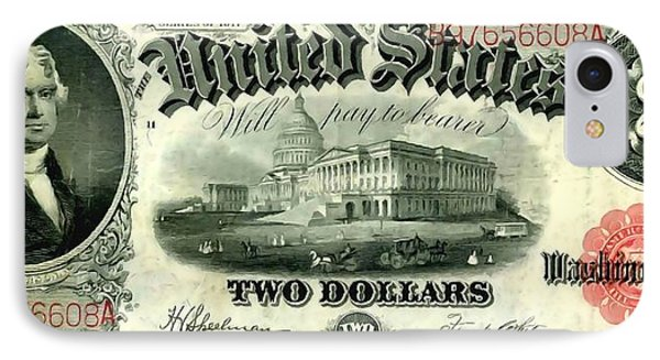 Two Dollar 1917 United States Note Fr60 Phone Case by Lanjee Chee