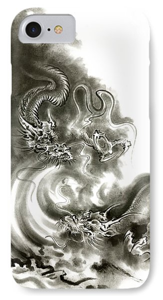 Two Dragons Gold Fantasy Dragon Design Sumi-e Ink Painting Dragon Art IPhone Case