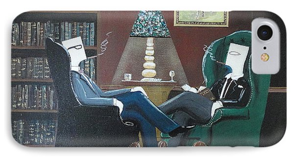 Two Gentlemen Sitting In Wingback Chairs At Private Club IPhone Case by John Lyes