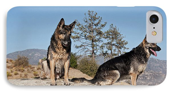 Two German Shepherds Sitting On A Rock IPhone Case by Zandria Muench Beraldo
