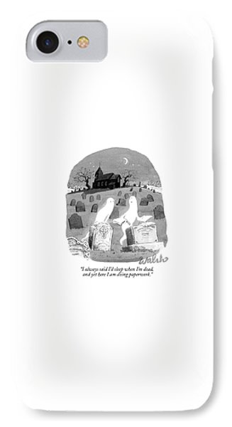 Two Ghosts Talk In A Graveyard.  One Is Holding IPhone Case by Liam Walsh