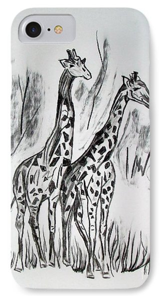 IPhone Case featuring the drawing Two Giraffe's In Graphite by Janice Rae Pariza