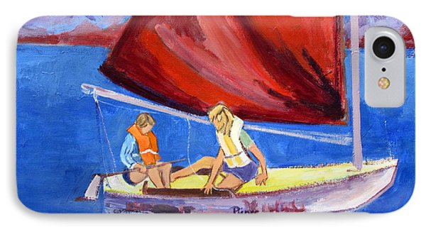 Two Girls Set To Sail With Red Sail IPhone Case by Betty Pieper