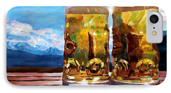Two Glasses Of Beer With Mountains Phone Case by M Bleichner