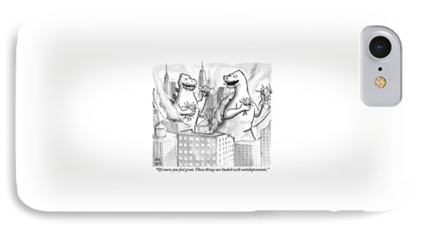 Two Godzillas Talk To Each Other IPhone Case by Paul Noth