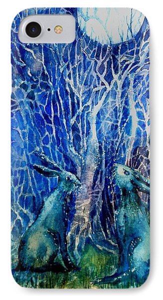 Two Hares Contemplate An Owl By Moonlight     IPhone Case