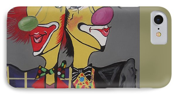 IPhone Case featuring the painting Two Heads Are Better Then One by Nora Shepley