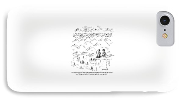 Two Hikers In A Mountainous Area Are Resting. One IPhone Case by David Sipress