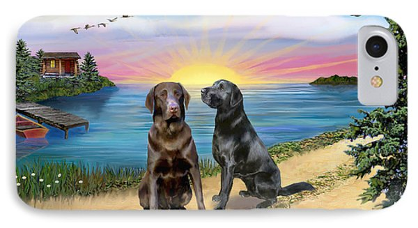 Two Labs At The Lake Phone Case by Jean B Fitzgerald