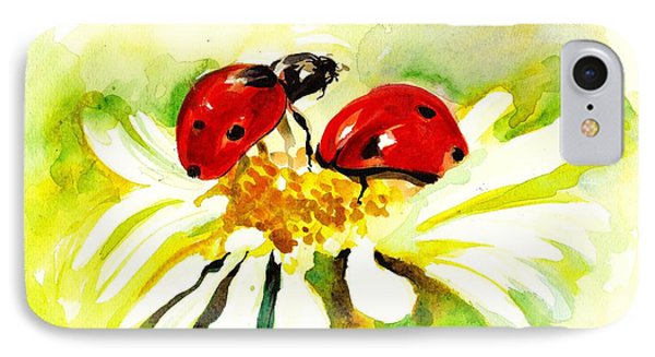 Two Ladybugs In Daisy After My Original Watercolor IPhone 7 Case by Tiberiu Soos