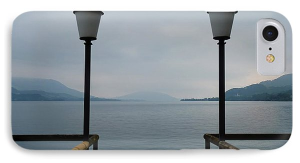 IPhone Case featuring the photograph Two Lanterns At The Jetty Pier Of Lake Attersee by Menega Sabidussi