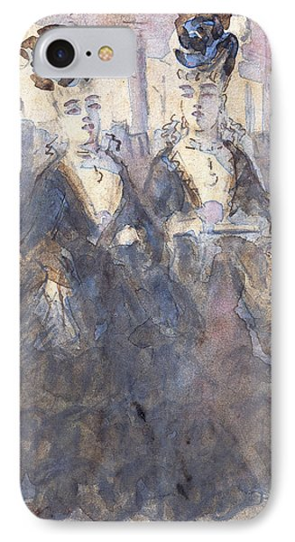 Two Lorettes At The Theater IPhone Case by Constantin Guys