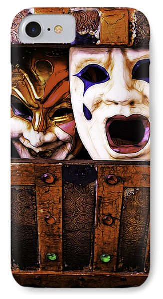 Two Masks In Box IPhone Case by Garry Gay