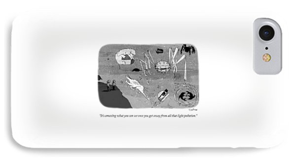 Two Men Look Up At The Night Sky To See IPhone Case by Sara Lautman