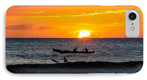 Two Men Paddling A Hawaiian Outrigger Canoe At Sunset On Maui IPhone Case
