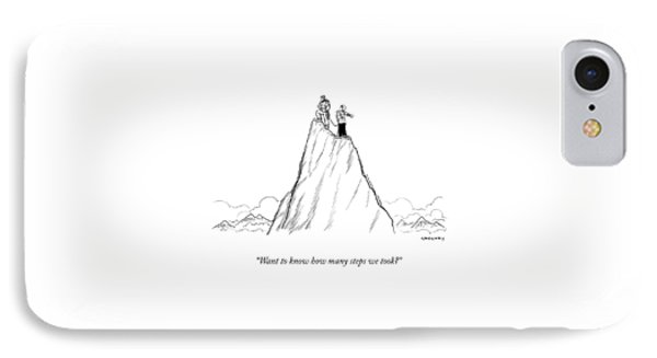 Two Men Stand At The Peak Of A Mountain.  One Man IPhone Case
