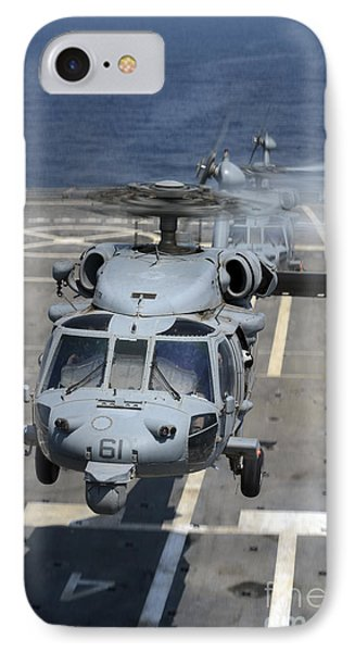 Two Mh-60s Sea Hawk Helicopters Take Phone Case by Stocktrek Images
