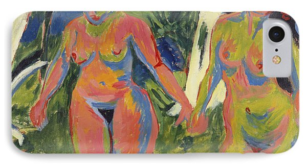 Two Nude Women In A Wood Phone Case by Ernst Ludwig Kirchner